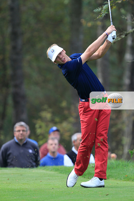 Sam Burns (USA) on the 2nd tee of the Mixed Fourballs during the 2014 JUNIOR RYDER CUP at the Blairgowrie Golf Club, Perthshire, Scotland. <br /> Picture:  Thos Caffrey / www.golffile.ie