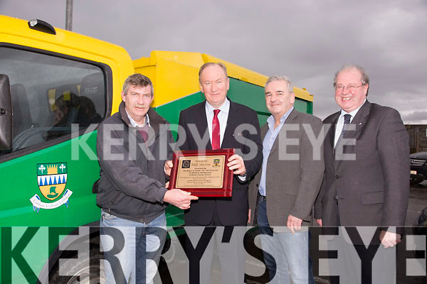 Mayor of Tralee Jim Finnucane presented a Plaque to Town Foreman Murty Quirke and Council Outdoor Staff, to thank them for their work in the Entente Florale, at the Rock street depot on Friday. Pictured Murty Quirke, Jim Finnucane, Frank Hartnett and John Griffin