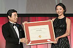 Japan's Best Dresser Awards winner Airi Hatakeyama (R) poses for the cameras during the 46th Awards ceremony on November 29, 2017, Tokyo, Japan. This year five people received the award for being fashion and lifestyle leaders in their fields. (Photo by Rodrigo Reyes Marin/AFLO)