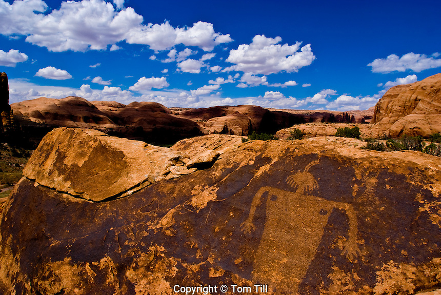 Petroglyph figure and canyons                Ancient  native american rock art    Location secret to protect rock art