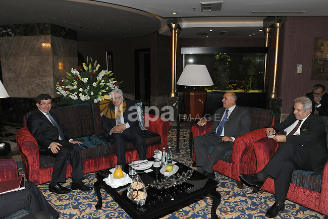 Palestinian President, Mahmoud Abbas (Abu Mazen) meet with the Turkish Foreign Minister Ahmed Daoud Ihsanoglu in Konya City  in Turkey  on Dec. 19, 2011. Photo by Thaer Ghanaim