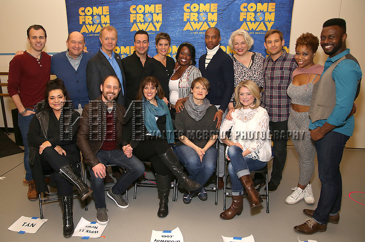 Front row: Susan Dubstan, Geno Carr, Sharon Wheaarley, Petrina Bromley, Kendra Kassebaum Second Row: Tony LePage, Joel Hatch, Lee MacDougall, Caesar Samayoa, Jenn Colella, Q. Smith, Rodney Hicks, Astrid Van Wieren, Chad Kimball, Tamika Lawrence and Josh Breckenridge attends the press day for Broadway's 'Come From Away' at Manhattan Movement and Arts Center on February 7, 2017 in New York City.