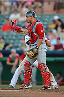 Lowell Spinners catcher Miguel Rodriguez (21) during a game against the Tri-City ValleyCats on July 6, 2013 at Joseph L. Bruno Stadium in Troy, New York.  Lowell defeated Tri-City 4-3.  (Mike Janes/Four Seam Images)