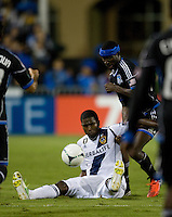 Edson Buddle of Galaxy fights for the ball against Ike Opara of Earthquakes during the game at Buck Shaw Stadium in Santa Clara, California on November 7th, 2012.   LA Galaxy defeated San Jose Earthquakes, 3-1.