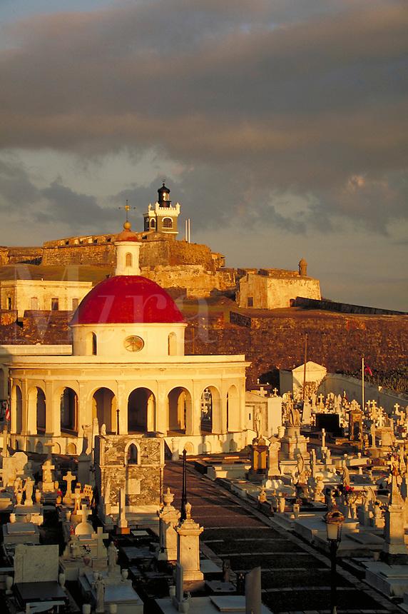 Old San Juan Cemetery & El Morro Fort. San Juan, Puerto Rico.