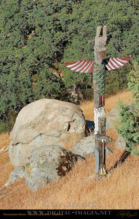 Red Foot Thunderbird Totem, Indian Peak Ranch, Mariposa, California