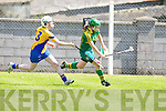 Kerry's Alanna Maunsell show great ball control against Roscommon's Aoife McDermott in the All Ireland U16' s camogie championship at Kilmoyley on Sunday.
