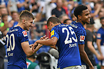 31.08.2019, VELTINS-Arena, Gelsenkirchen, GER, DFL, 1. BL, FC Schalke 04 vs Hertha BSC, DFL regulations prohibit any use of photographs as image sequences and/or quasi-video<br /> <br /> im Bild Jonjoe Kenny (#20, FC Schalke 04) jubelt nach seinem Tor zum 3:0 mit Amine Harit (#25, FC Schalke 04) <br /> <br /> Foto © nordphoto/Mauelshagen