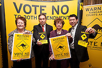 NO REPRO FEE. VOTE NO TO THE 30TH AMENDMENT. Pictured at the Official launch of the 'NO' Campaign at the The Westbury Hotel, Dubliin are L-R Mary O'Rourke, former TD, Senator and Oireachtas Committee Chair, Mark Kelly, Director, Irish Council for Civil Liberties , Catherine Murphy TD and Senator Ronán Mullen Picture James Horan/Collins.