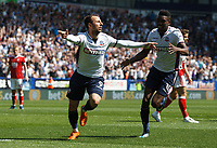 Bolton Wanderers' Adam Le Fondre celebrates scoring his side's first goal <br /> <br /> Photographer Andrew Kearns/CameraSport<br /> <br /> The EFL Sky Bet Championship - Bolton Wanderers v Nottingham Forest - Sunday 6th May 2018 - Macron Stadium - Bolton<br /> <br /> World Copyright &copy; 2018 CameraSport. All rights reserved. 43 Linden Ave. Countesthorpe. Leicester. England. LE8 5PG - Tel: +44 (0) 116 277 4147 - admin@camerasport.com - www.camerasport.com