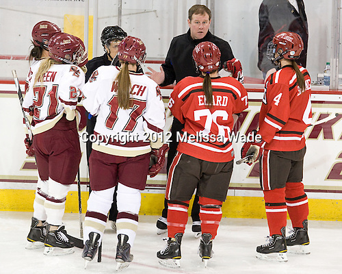 Mary Restuccia (BC - 22), Andrea Green (BC - 21), Julie Piacentini, Danielle Welch (BC - 17), Bill Doiron, Karell Emard (SLU - 76), Josee Belanger (SLU - 4) - The Boston College Eagles defeated the visiting St. Lawrence University Saints 6-3 (EN) in their NCAA Quarterfinal match on Saturday, March 10, 2012, at Kelley Rink in Conte Forum in Chestnut Hill, Massachusetts.