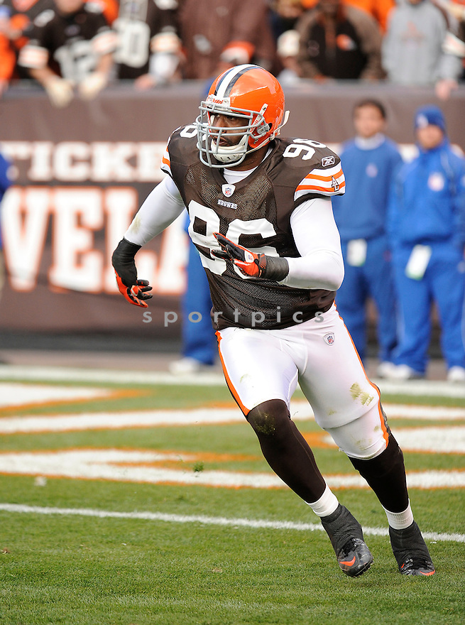 DAVID BOWENS, of  he Cleveland Browns, in action during the Browns game against the New York Jets on November 14, 2010 at Cleveland Browns Stadium in Cleveland, Ohio. .Jets beat the Browns 26-20...SportPics