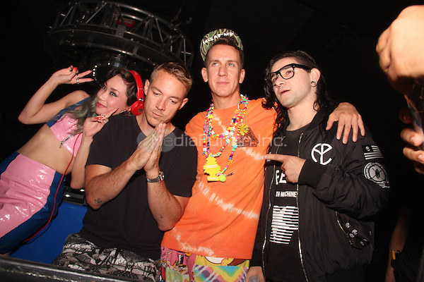 NEW YORK, NY - SEPTEMBER 10: Jeremy Scott and Skrillex here at the Jeremy Scott after party at Space Ibiza September 10, 2014 in New York City. Credit: Walik Goshorn/MediaPunch