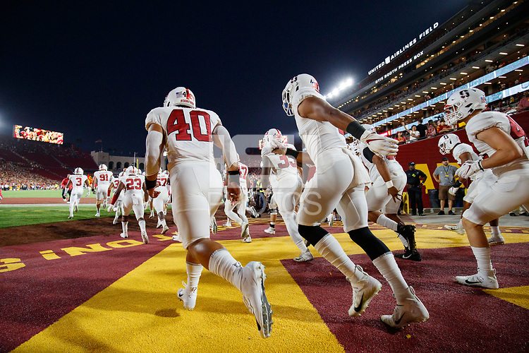LOS ANGELES, CA - SEPTEMBER 7: Stanford Cardinal take the field during a game between USC and Stanford Football at Los Angeles Memorial Coliseum on September 7, 2019 in Los Angeles, California.