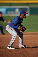 AZL Rangers third baseman Keyber Rodriguez (22) during an Arizona League game against the AZL Athletics Gold on July 15, 2019 at Hohokam Stadium in Mesa, Arizona. The AZL Athletics Gold defeated the AZL Rangers 9-8 in 11 innings. (Zachary Lucy/Four Seam Images)