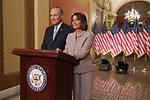 WASHINGTON, DC - JANUARY 08: Speaker of the House Nancy Pelosi (D-CA) and Senate Minority Leader Charles Schumer (D-NY) pose for photographs after delivering a televised response to President Donald Trump's national address about border security at the U.S. Capitol January 08, 2019 in Washington, DC. Republicans and Democrats seem no closer to an agreement on security along the southern border and ending the partial federal government shutdown, the second-longest in history. <br /> Credit: Chip Somodevilla / Pool via CNP