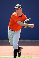 June 11th 2008:  Pitcher Brian Paker of the Delmarva Shorebirds, Class-A affiliate of the Baltimore Orioles, during a game at Classic Park in Eastlake, OH.  Photo by:  Mike Janes/Four Seam Images