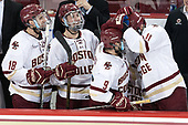 Colin White (BC - 18), JD Dudek (BC - 15), Austin Cangelosi (BC - 9), Chris Calnan (BC - 11) - The Boston College Eagles defeated the University of Vermont Catamounts 7-4 on Saturday, March 11, 2017, at Kelley Rink to sweep their Hockey East quarterfinal series.The Boston College Eagles defeated the University of Vermont Catamounts 7-4 on Saturday, March 11, 2017, at Kelley Rink to sweep their Hockey East quarterfinal series.