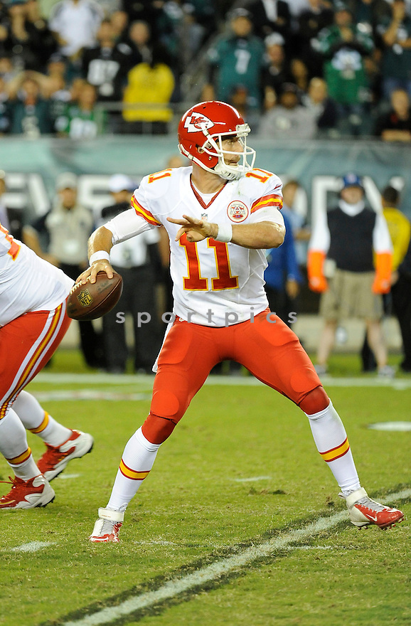 Kansas City Chiefs Alex Smith (11) during a game against the Philadelphia Eagles on September 14, 2013 at Lincoln Financial Field in Philadelphia, PA. The Chiefs beat the Eagles 26-16.