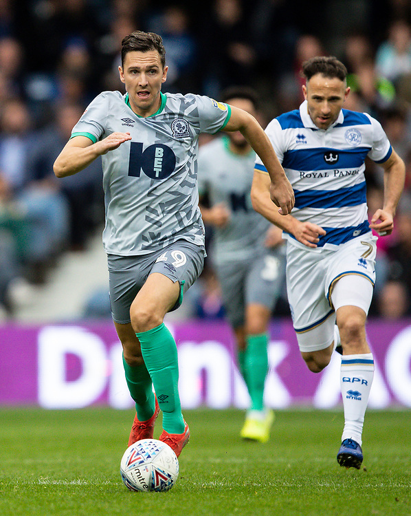 Blackburn Rovers' Stewart Downing breaks away from Queens Park Rangers' Marc Pugh (right) <br /> <br /> Photographer Andrew Kearns/CameraSport<br /> <br /> The EFL Sky Bet Championship - Queens Park Rangers v Blackburn Rovers - Saturday 5th October 2019 - Loftus Road - London<br /> <br /> World Copyright © 2019 CameraSport. All rights reserved. 43 Linden Ave. Countesthorpe. Leicester. England. LE8 5PG - Tel: +44 (0) 116 277 4147 - admin@camerasport.com - www.camerasport.com