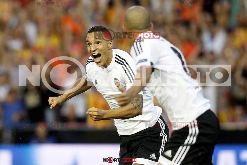Valencia's Rodrigo (l) and Sofiane Feghouli celebrate goal during Champions League 2015/2016 Play-Offs 1st leg match. August  19,2015. (ALTERPHOTOS/Acero)