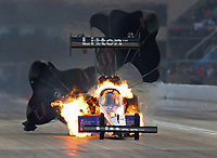 Jun 2, 2018; Joliet, IL, USA; Fire fills the cockpit of the dragster of NHRA top fuel driver Bill Litton after an engine explosion during qualifying for the Route 66 Nationals at Route 66 Raceway. Mandatory Credit: Mark J. Rebilas-USA TODAY Sports