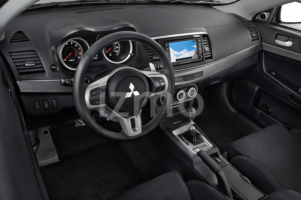 High angle dashboard view of a 2010 Mitsubishi Lancer Sportback GTS
