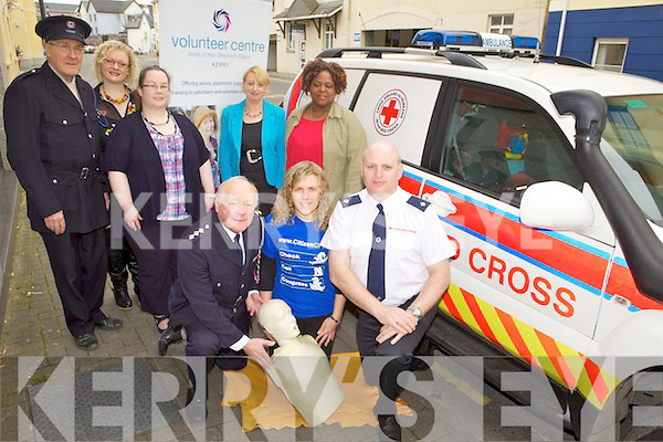 TRAINING: Members of the Red Cross and the Kerry Volunteer Centre announcing details of free training in first aid for volunteers, front l-r: Charlie Harnett, Christina O'Halloran, DJ O'Callaghan. Back l-r: Dave Frizelle, Mary Cooper, Hannah Lane, Siobhan Kelliher, Thandi Dike.