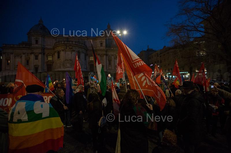 "Fabrizio De Sanctis (President of ANPI Rome - Associazione Nazionale Partigiani d'Italia). <br /> <br /> Rome, 25/01/2020. Today, Rete della Pace – supported by numerous organizations, including CGIL, ANPI and Libera – held a demonstration for Peace in Piazza dell'Esquilino called ""Spegniamo La Guerra, Accendiamo La Pace"" (Let's turn off the war, let's turn on Peace, 1.).<br /> <br /> Footnotes & Links:<br /> 1. http://bit.do/fqxs9"