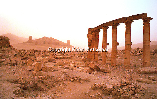 Syria, Palmyra, Oct. 1989..Remains of this ancient city in south-central Syria, 130 miles (210 km) northeast of Damascus. The name Palmyra, meaning &quot;city of palm trees,&quot; was conferred upon the city by its Roman rulers in the 1st century AD.<br />