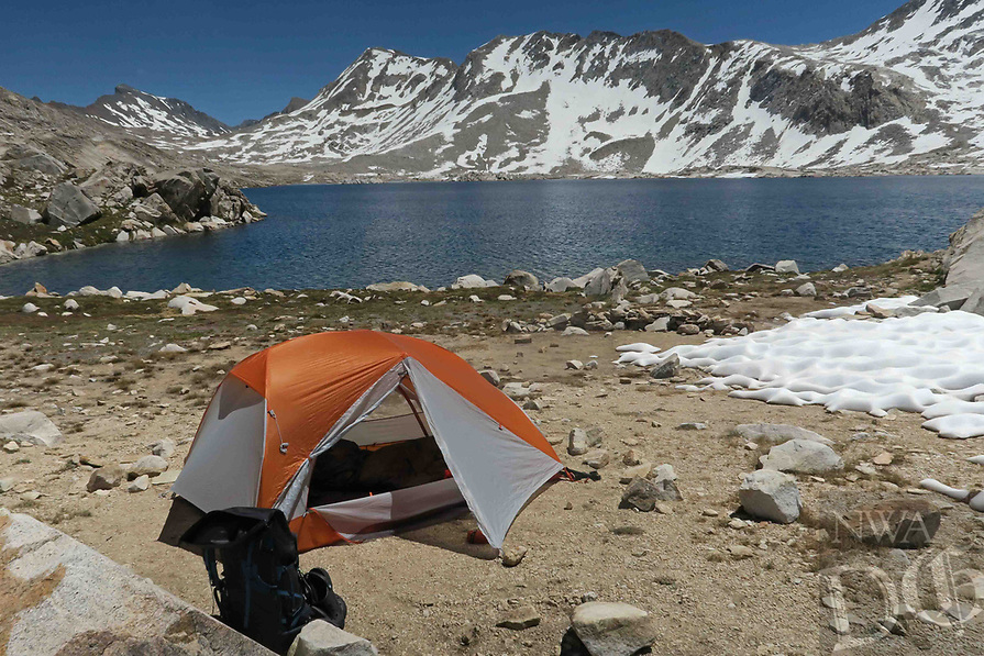 Courtesy photo/JIM WARNOCK<br /> Warnock's tent on the shore of Wanda Lake.