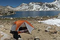 Courtesy photo/JIM WARNOCK<br /> Warnock's tent on the shore of Wanda Lake.