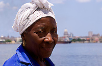 Portrait colorful woman in park in Havana Cuba Habana