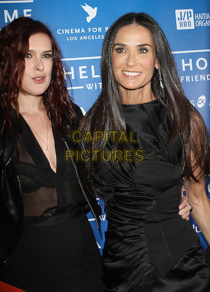 Rumer Willis & Demi Moore.Sean Penn And Friends Cinema For Peace Event Benefiting J/P Haitian Relief Organization held at the Montage Hotel, Beverly Hills, California, USA..January 14th, 2012  .half length black dress sleeveless leather jacket sheer blouse skirt top mother mom mum daughter family .CAP/ADM/KB.©Kevan Brooks/AdMedia/Capital Pictures.