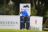 Pablo Larrazabal (ESP) tees off the 2nd tee during Saturday's rain delayed Round 2 of the Andalucia Valderrama Masters 2018 hosted by the Sergio Foundation, held at Real Golf de Valderrama, Sotogrande, San Roque, Spain. 20th October 2018.<br /> Picture: Eoin Clarke | Golffile<br /> <br /> <br /> All photos usage must carry mandatory copyright credit (&copy; Golffile | Eoin Clarke)