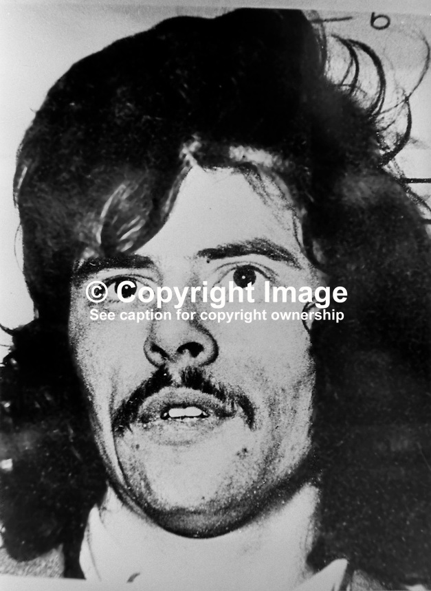 Contemporary picture of Gerry Adams, when he was captured by the British Army in Belfast, N Ireland, in November 1974 for alleged IRA membership. Ref: 199411001.<br /> <br /> Copyright Image from Victor Patterson, 54 Dorchester Park, <br /> Belfast, UK, BT9 6RJ<br /> <br /> t1: +44 28 9066 1296 (from Rep of Ireland 048 9066 1296)<br /> t2: +44 28 9002 2446 (from Rep of Ireland 048 9002 2446)<br /> m: +44 7802 353836<br /> <br /> e1: victorpatterson@me.com<br /> e2: victorpatterson@gmail.com<br /> www.victorpatterson.com<br /> <br /> Please see my Terms and Conditions of Use at www.victorpatterson.com. It is IMPORTANT that you familiarise yourself with them.<br /> <br /> Images used on the Internet must be visibly watermarked i.e. &copy; Victor Patterson<br /> within the body of the image and copyright metadata must not be deleted. Images <br /> used on the Internet have a size restriction of 4kbs and will be chargeable at current<br />  NUJ rates unless agreed otherwise.<br /> <br /> This image is only available for the use of the download recipient i.e. television station, newspaper, magazine, book publisher, etc, and must not be passed on to any third <br /> party. It is also downloaded on condition that each and every usage is notified within 7 days to victorpatterson@me.com<br /> <br /> The right of Victor Patterson to be identified as the author is asserted in accordance with The Copyright Designs And Patents Act (1988).