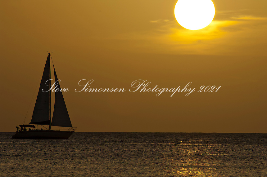 Sailboat at sunset<br /> Maho Bay<br /> Virgin Islands National Park<br /> St. John, U.S. Virgin Islands