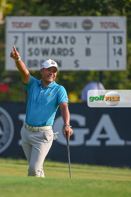 Yusaku Miyazato (JAP) celebrates Scott Brown's (USA) chip in on 9 during 2nd round of the 100th PGA Championship at Bellerive Country Club, St. Louis, Missouri. 8/11/2018.<br /> Picture: Golffile | Ken Murray<br /> <br /> All photo usage must carry mandatory copyright credit (© Golffile | Ken Murray)