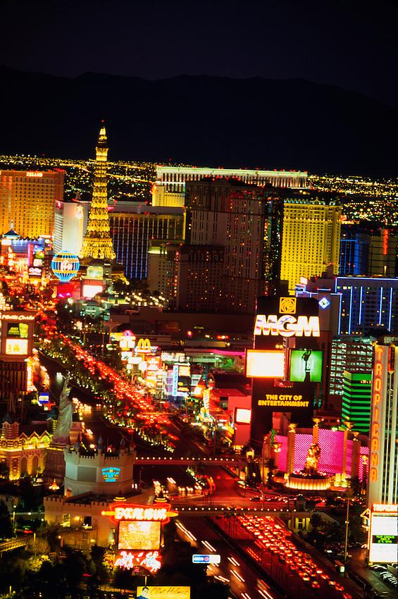 Looking north up the Strip (from the Mandalay Bay), Las Vegas Boulevard, Las Vegas, Nevada