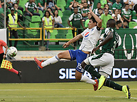 PALMIRA - COLOMBIA, 03-03-2019: Richard Renteria del Cali disputa el balón con Roberto Ovelar de Millonarios durante partido por la fecha 8 de la Liga Águila I 2019 entre Deportivo Cali y Millonarios jugado en el estadio Deportivo Cali de la ciudad de Palmira. / Richard Renteria of Cali vies for the ball with Roberto Ovelar of Millonarios during match for the date 8 as part Aguila League I 2019 between Deportivo Cali and Millonarios played at Deportivo Cali stadium in Palmira city.  Photo: VizzorImage / Gabriel Aponte / Staff