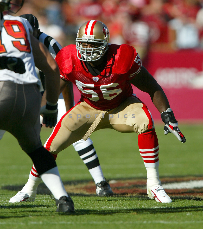 Brandon Moore, of the San Francisco 49ers, in action, during their game against the Tampa Bay Buccaneers on October 30, 2005...San Francisco wins 15-10..Rob Holt / SportPics