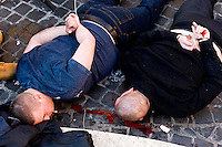 Roma 19 Febbraio 2015<br /> Lancio di fumogeni e di bombe carta in piazza di Spagna, dove si sono riuniti circa 500 tifosi olandesi del Feyenoord, in vista della partita che si svolger&agrave; stasera allo stadio Olimpico contro la Roma.Nella guerriglia sono rimasti feriti 10 agenti e tre tifosi olandesi. Tifosi del Feyenoord arrestati dalla polizia<br /> Rome February 19, 2015<br /> Launch of smoke and paper bombs in Piazza di Spagna, where gathered about 500 Dutch fans of Feyenoord, in view of the match that will take place tonight at the Olympic Stadium against Roma.Nella guerrillas were wounded 10 policemen and three Dutch fans. Feyenoord fans arrested by police