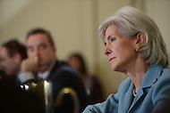 Washington, DC - January 22, 2014: Kathleen Sebelius, U.S. Secretary of Health and Human Services, speaks during a committee meeting at the U.S. Conference of Mayors 82nd Winter Meeting at the Mayflower Hotel in the District of Columbia, January 22, 2014.  (Photo by Don Baxter/Media Images International)