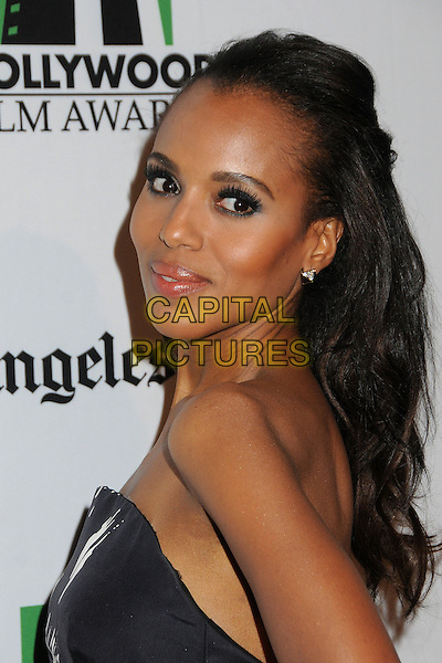 Kerry Washington.16th Annual Hollywood Film Awards Gala held at the Beverly Hilton Hotel, Beverly Hills, California, USA..October 22nd, 2012.headshot portrait black white strapless print  side .CAP/ADM/BP.©Byron Purvis/AdMedia/Capital Pictures.