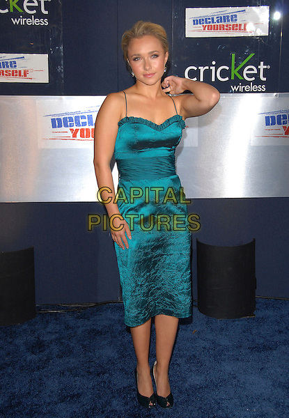 HAYDEN PANETTIERE.The Declare Yourself Celebration held at The Wallis Annenberg Center for the Performing Arts in Beverly Hills, California, USA..September 27th, 2007  .full length blue green dress ruffle trim sash waist black peep toe shoes arm elbow.CAP/DVS.©Debbie VanStory/Capital Pictures