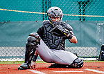 5 March 2019: Pittsburgh Pirates minor league catcher and Top Prospect Deon Stafford works with pitchers at Pirate City in Bradenton, Florida. Mandatory Credit: Ed Wolfstein Photo *** RAW (NEF) Image File Available ***