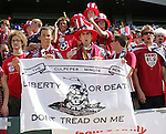 9 June 2007: United States fans show their support, late in the game. The United States Men's National Team defeated the National Team of Trinidad & Tobago 2-0 at the Home Depot Center in Carson, California in a first round game in the CONCACAF Gold Cup.