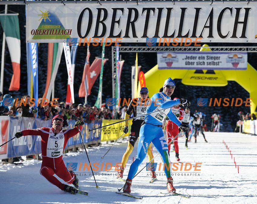Fabio Santus ITALIA (D) vince allo sprint su Aliaksei Ivonou Bileorussia.22.01.2012, Loipe Obertilliach,  Dolomitenlauf.Coppa del mondo Sci di Fondo Freestyle.Foto Insidefoto / EXPA/ M. Gruber