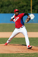 Jorge Despaigne works out at the Dominican Republic air force base in front of 100+ Major League Baseball scouts prior to being declared eligible to sign since defecting from his native Cuba in Santo Domingo, Dominican Republic on February 11, 2015 (Bill Mitchell)