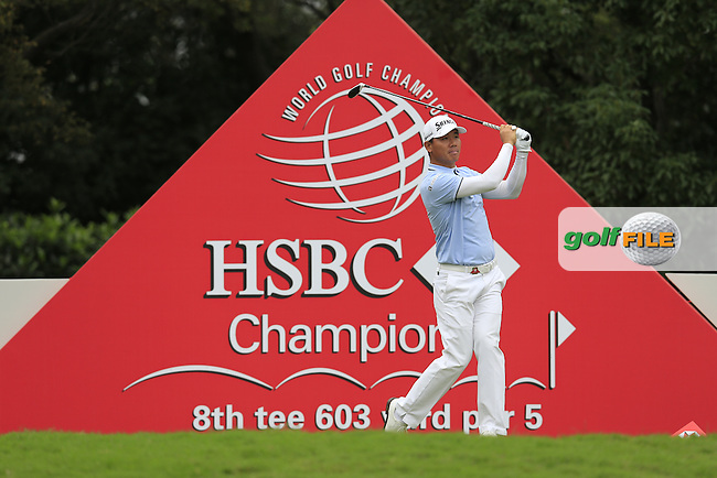 Wu Ashun (CHN) on the 8th during round 3 of the WGC-HSBC Champions, Sheshan International GC, Shanghai, China PR.  29/10/2016<br /> Picture: Golffile | Fran Caffrey<br /> <br /> <br /> All photo usage must carry mandatory copyright credit (&copy; Golffile | Fran Caffrey)